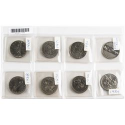 8 Assorted Canadian One Dollar Nickel Coin