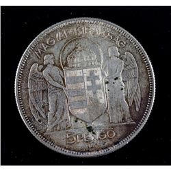 1930 Hungary 5 Pengo Silver (.640) Coin KM-512