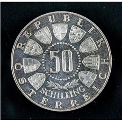 1964 Austrian 50 Schilling Olympic Coin AU KM-2896