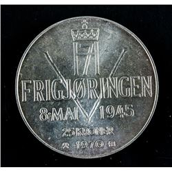1970 Norway 25 Kroner Silver Coin KM-414