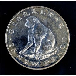1971 Gibraltar 25 New Pence Copper-Nickel AU KM-5