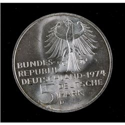 1974 VG Germany 5 Deutsche Mark KM-139