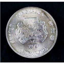 1979 Singapore $10 Silver Coin VF KM-17.1
