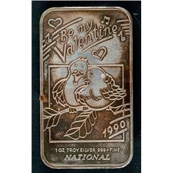 1990 National Mint Be My Valentine Silver Art Bar
