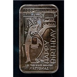 1990 National Mint Happy Birthday Silver Art Bar