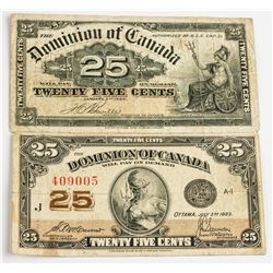 1900 and 1923 Dominion of Canada 25 Cent Banknote