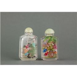 2 PC Chinese Glass Inner Painting Snuff Bottle