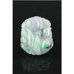 Chinese Green & Lavender Jadeite Carved Pendant
