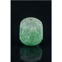 Chinese Green Jadeite Carved Buddha Pendant