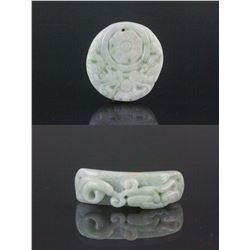 2 PC Chinese Green Jadeite Pendant