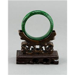 Chinese Spinach Green Jade Bangle Carved Lingzhi