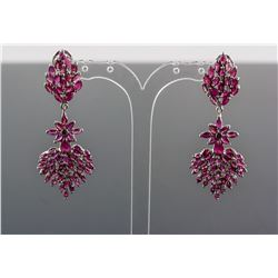 0.8ct Pear Shape & Marquise Ruby Drop Earrings