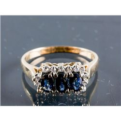 14k Yellow Gold Sapphire Brilliant Diamond Ring