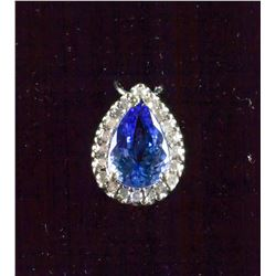 14k Gold 2.1ct Tanzanite and Diamond Pendant