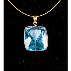 14k Gold 44ct Natural Blue Topaz Pendant Necklace