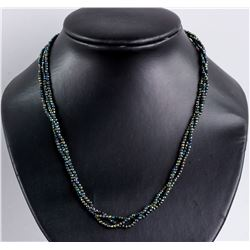 Sterling Silver Onyx Faceted Bead Necklace RV$240
