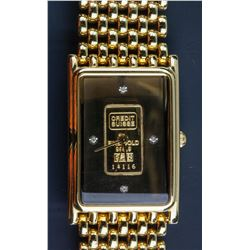 Swiss Ingot 1g Gold (9999) Dial 4 Diamond Watch CR