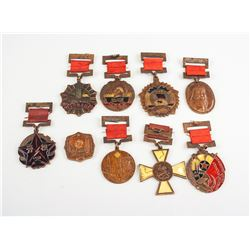 9 Assorted Worldwide Metal Medals