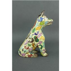 Chinese Cloisonne Seating Dog 17/18 C.