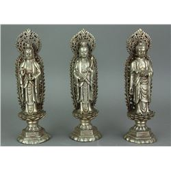 Set of Three Chinese Silver Guanyin Figures