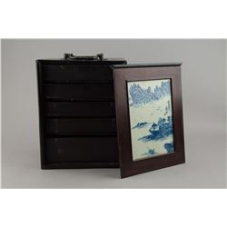 Chinese Mahjong Wood Cabinet w Porcelain Painting