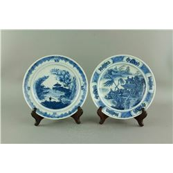 Pair 18th C. Kangxi Export B&W Porcelain Saucers
