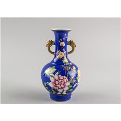 Chinese Famille Rose Gilt Vase Yongzheng Mark