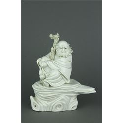 Qing Period Blanc de Chine Carved Porcelain Figure