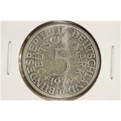 1974-D GERMAN SILVER 5 MARKS