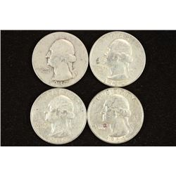 1947-D,54,60 & 64 WASHINGTON SILVER QUARTERS
