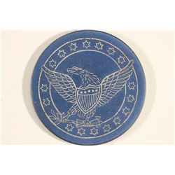 VINTAGE POKER CHIP BLUE/WHITE WITH ENGRAVED EAGLE