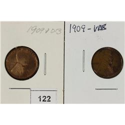 2-1909-VDB LINCOLN CENTS