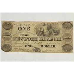 1837 NEWPORT LYCEUM $1 OBSOLETE BANK NOTE