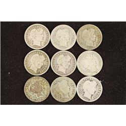 9 ASSORTED BARBER DIMES