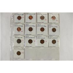 13 ASSORTED MINOR ERROR LINCOLN CENTS 1927-D-