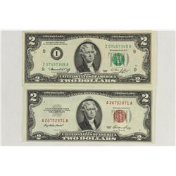 1953 RED SEAL & 1976 GREEN SEAL $2 BILLS