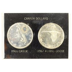 CANADA 1966 CANOE & 1967 FLYING GOOSE SILVER $'S