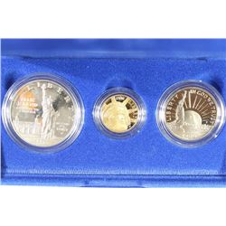 1986 GOLD & SILVER STATUE OF LIBERTY 3 COIN PROOF