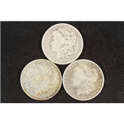 1884-O, 1889-O & 1891 MORGAN SILVER DOLLARS