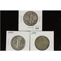 1940,42 & 1943 WALKING LIBERTY HALF DOLLARS