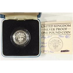 1984 UNITED KINGDOM SILVER PROOF 1 POUND COIN