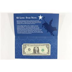 2001 TEXAS $1 LONE STAR NOTE CRISP UNC