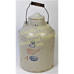 Red Wing 3 gallon packing jar with wire bale handle, chip to bottom.  Est. 75-150