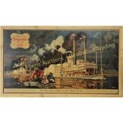 "Early Seagram's Gin advertisement 34"" X 19"", depicts the race of the Natchez and the Robert E. Lee."