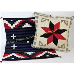 "Lot of 2 includes contemporary Navajo rug 27"" X 39"" and a large Navajo woven pillow case 22"" X 22"","