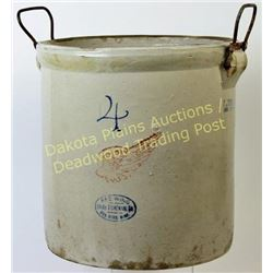 Red Wing 4 gallon crock with wire bale handles, pat'd 1915, NO chips, cracks or repairs.  Est. 50-10