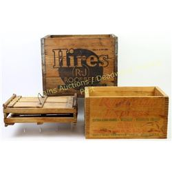 Lot of 3 wooden boxes includes Hires Root Beer, Remington Express and an egg crate.  Est. 50-125