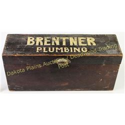 "Vintage plumbing box with the name Brentner painted across the top, 24"" X 11"" X 7 1/2"", original har"