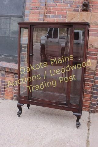 ... Image 2 : Antique Mahogany China Cabinet Bow Front Glass Door, 3 Plate  Rail Shelves ...