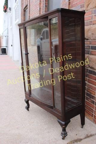 Antique Mahogany China Cabinet Bow Front Glass Door 3 Plate Rail